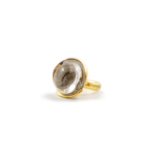 Ole Lynggaard, Lotus ring in 18K yellow gold with rutile quartz and diamonds TW.VS,A2653-407